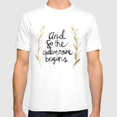 The Adventure Begins MEDIUM White Mens Fitted Tee