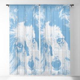 border collie dog 5 portrait wswb Sheer Curtain