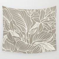 gray Wall Tapestries featuring Floral Alabaster Blue Gray by Beautiful Homes