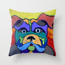 Bull Dog - Don't Give Me Your Lines and Keep Your Hands OFF!  Abstract POP ART Painting Throw Pillow