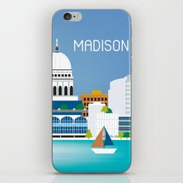 Madison, Wisconsin - Skyline Illustration by Loose Petals iPhone Skin