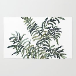 Woodland Fern Botanical Watercolor Illustration Painting Rug