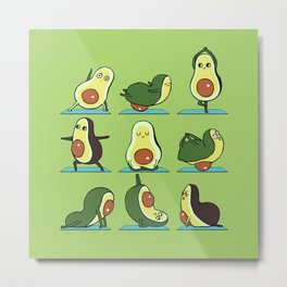 Avocado Yoga Metal Print
