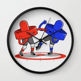 Air Hockey Brawl Wall Clock
