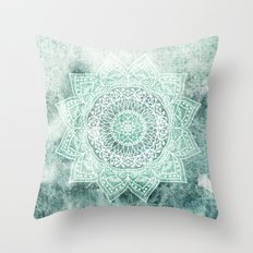 DEEP MINT MANDALA Throw Pillow