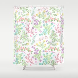 Colorful Easter Flower Pattern - Purple, Pink Green, Blue and Yellow Shower Curtain