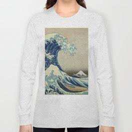 The Classic Japanese Great Wave off Kanagawa Print by Hokusai Long Sleeve T-shirt