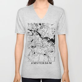 Amsterdam Minimal Map Unisex V-Neck
