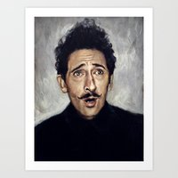 budapest hotel Art Prints featuring Adrien Brody / Grand Budapest Hotel by Heather Buchanan