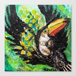 Toucan in flight Canvas Print