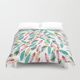 Modern red teal green watercolor bohemian feathers Duvet Cover