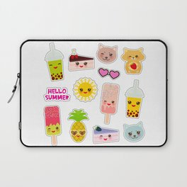 Hello Summer. Pineapple, cherry smoothie cup, ice cream, sun, cat, cake, hamster. Kawaii cute face. Laptop Sleeve