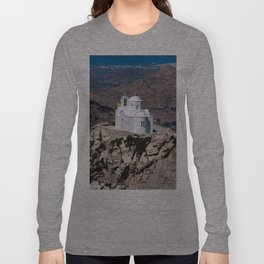 Lonely church in Greek mountains Long Sleeve T-shirt
