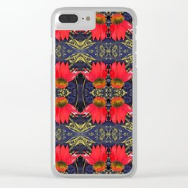 Red Cone Flowers Clear iPhone Case