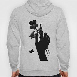 Black Hand Holding Flowers Hoody