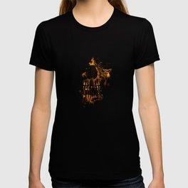 Skull Burning Digital Collage Illustration T-shirt