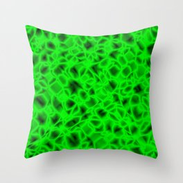 Chaotic bubbly pistachio thread of spherical molecules on bright glass.  Throw Pillow