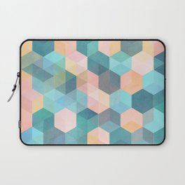 Child's Play 2 - hexagon pattern in soft blue, pink, peach & aqua Laptop Sleeve