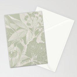Floral, Rose, Vintage Print, Olive Green Stationery Cards