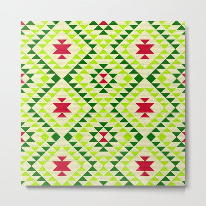 Tribal geometric pattern - green Metal Print