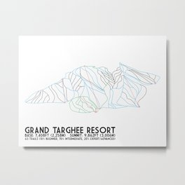 Grand Targhee Resort, WY - Minimalist Trail Art Metal Print