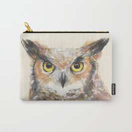 Owl Watercolor Great Horned Owl Painting Carry-All Pouch