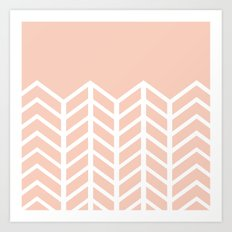 LACE CHEVRON (PEACH) Art Print