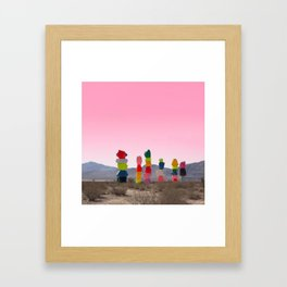 Seven Magic Mountains with Pink Sky - Las Vegas Framed Art Print