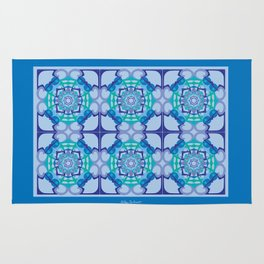 World Citizen Mandala Tiled - Blue Green Rug