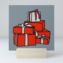 Red and Silver Wrapped Gift Boxes Mini Art Print