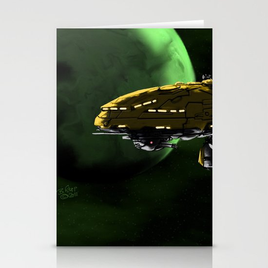 Comman Spaceship in Orbit Stationery Cards