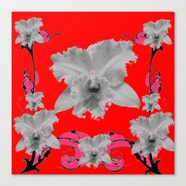 MODERN ART RED ART NOUVEAU WHITE ORCHIDS ART Canvas Print
