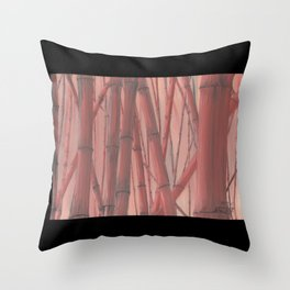 Red Bambo with border Throw Pillow