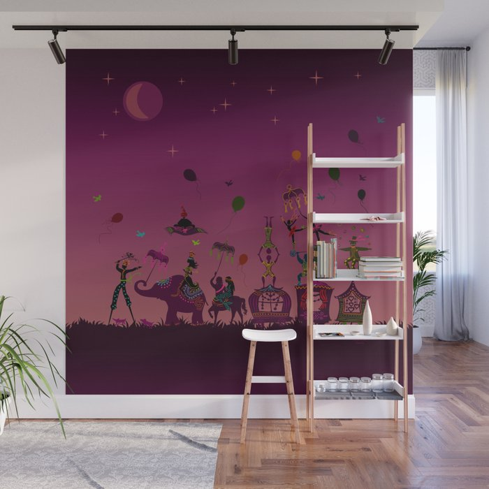 colorful circus carnival traveling in one row at night Wall Mural