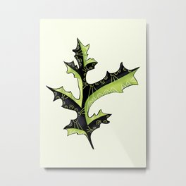 Bizarre Oak Leaf With Tribal Tattoos Metal Print