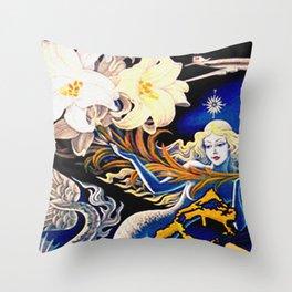 Vintage Bermuda Mermaid Travel Throw Pillow