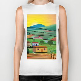 Sunset over Fields Biker Tank