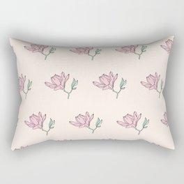 Pink Magnolia Pattern Rectangular Pillow
