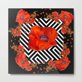 BLACK ORANGE POPPIES MODERN ART GARDEN Metal Print