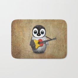 Baby Penguin Playing Belgian Flag Acoustic Guitar Bath Mat