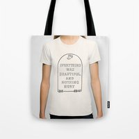 vonnegut Tote Bags featuring Vonnegut -  Billy Pilgrim by Neon Wildlife