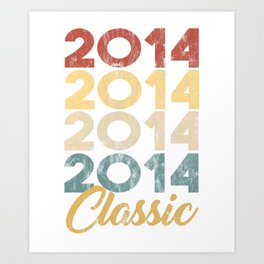 Vintage Classic 2014 Shirt 4th Birthday Party Celebration Gifts Art Print