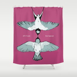 African or European swallows? Shower Curtain
