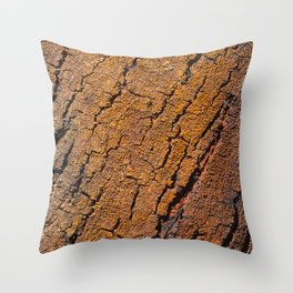 Orange tree bark with rustic wrinkles Throw Pillow