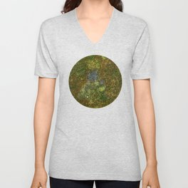 Old stone wall with moss Unisex V-Neck