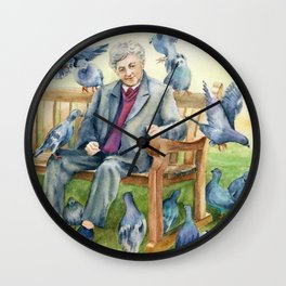 Old Man Feeding Birds-Kensington Gardens-England Wall Clock