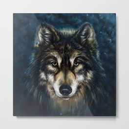 Artistic Wolf Face Metal Print