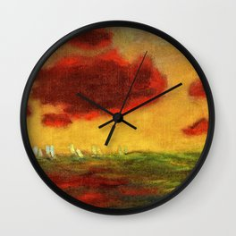 Sailing Yachts on the High Seas at Sunset nautical landscape by Emil Nolde Wall Clock