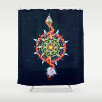chakra Shower Curtains featuring Muladhara Chakra by DiskoGalerie