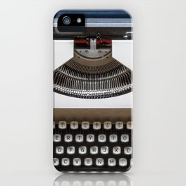 Blue and White Typewriter iPhone Case